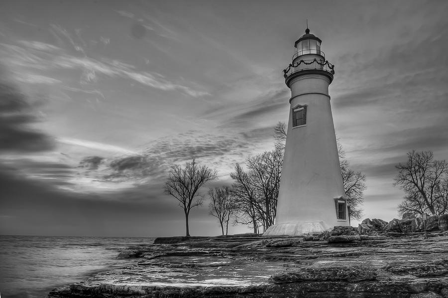 Marblehead Lighthouse In Black And White Photograph  - Marblehead Lighthouse In Black And White Fine Art Print