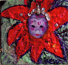 Mardi Gras Mask In Three D Collage Mixed Media