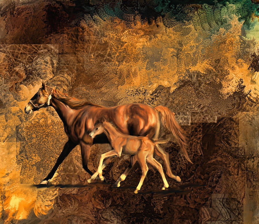 Mare And Baby Digital Art  - Mare And Baby Fine Art Print