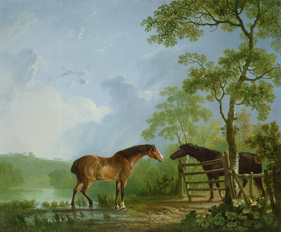 Mare And Stallion In A Landscape Painting  - Mare And Stallion In A Landscape Fine Art Print
