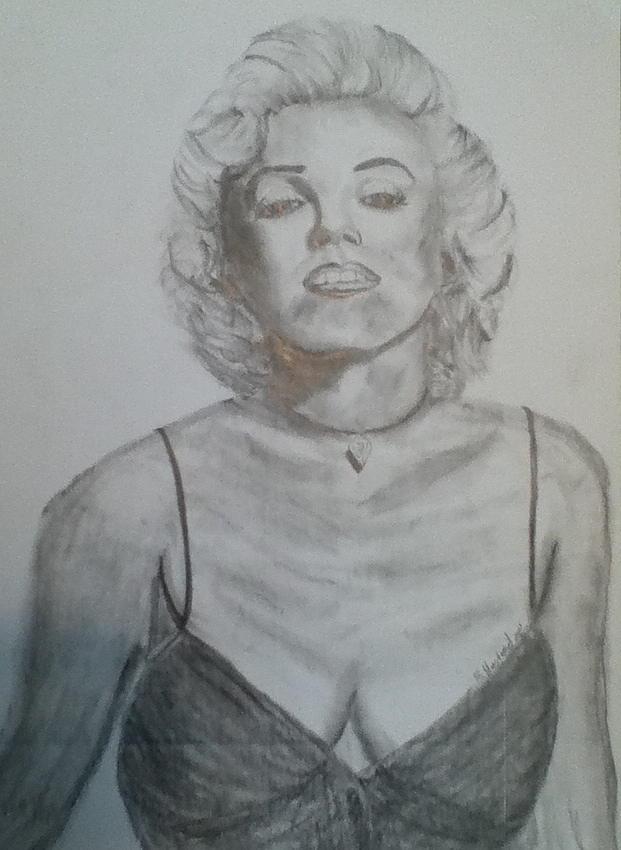Portrait Drawing - Marilyn by Brian Hustead