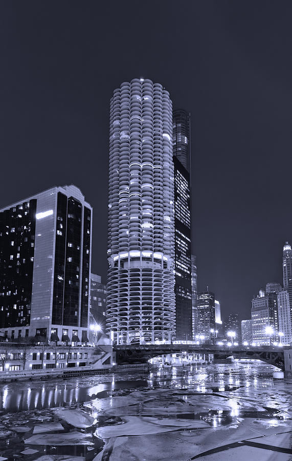 Marina City On The Chicago River In B And W Photograph  - Marina City On The Chicago River In B And W Fine Art Print