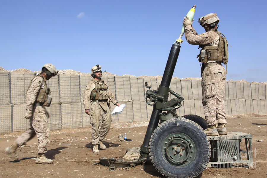 Marines Prepare To Fire A 120mm Mortar Photograph