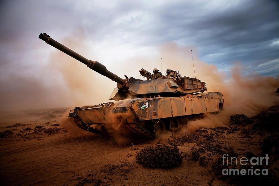 Marines Roll Down A Dirt Road Photograph