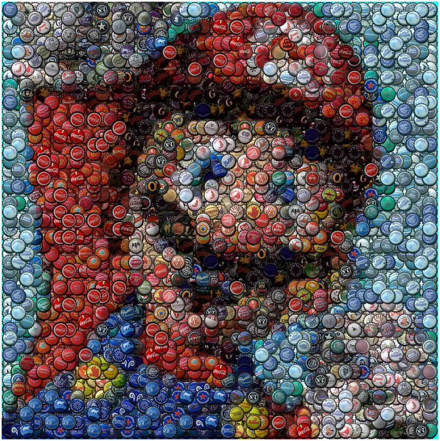 Mosaic of mario made out of hundreds of bottle caps pics for What can i make with bottle caps