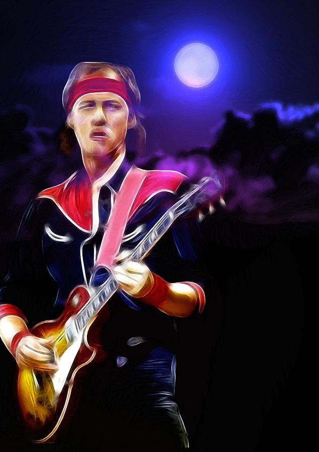 Mark Knopfler Dire Straits British Guitarist Singer Songwriter Record Producer Painting - Mark Knopfler Guitar Hero by Steve K