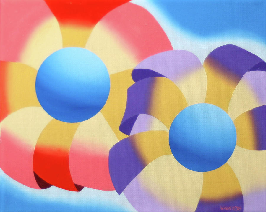 Mark Webster - Abstract Futurist Flowers Oil Painting Painting