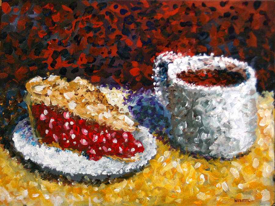 Mark Webster - Impressionist Cherry Pie With Coffee Acrylic Still Life Painting Painting