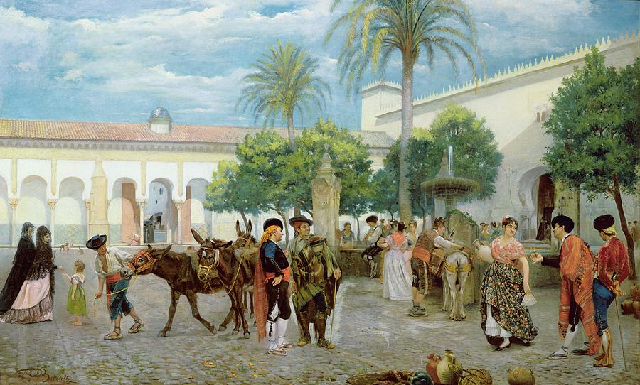 Market Day In Spain Painting  - Market Day In Spain Fine Art Print