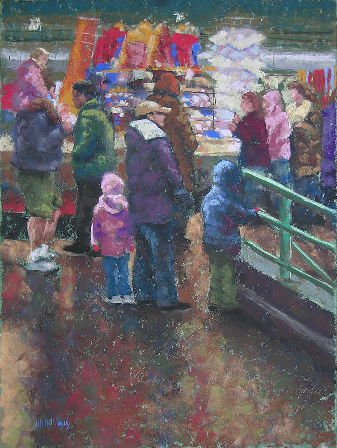 Market Winter Crowd Painting  - Market Winter Crowd Fine Art Print