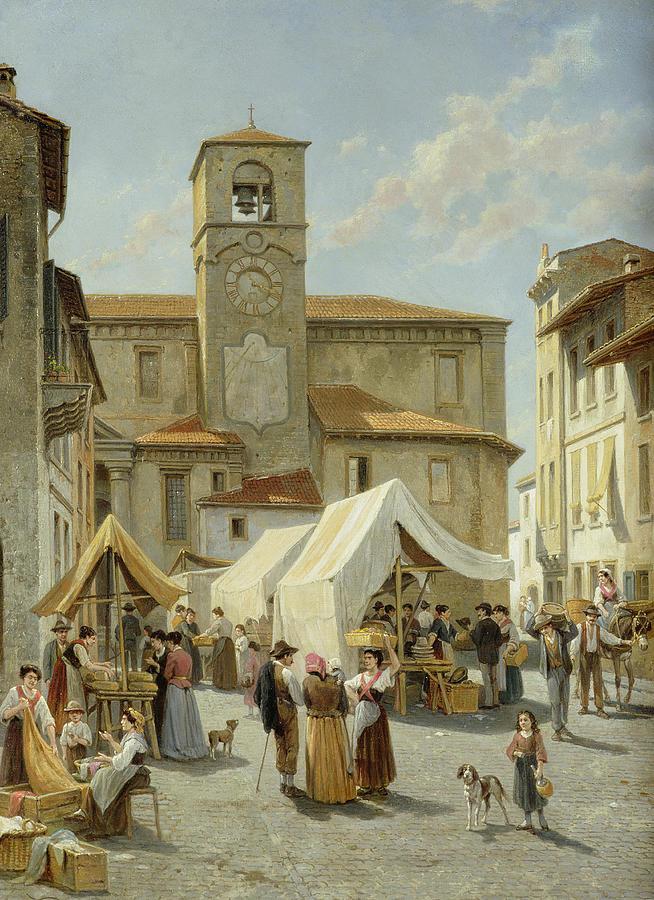 Marketday In Desanzano  Painting