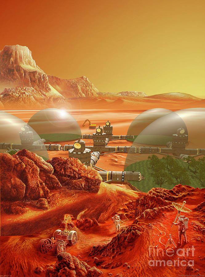 Mars Colony Painting  - Mars Colony Fine Art Print