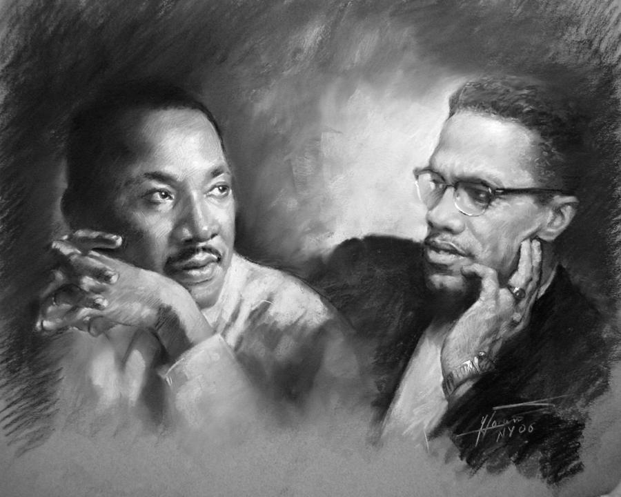 Martin Luther King Jr And Malcolm X Drawing  - Martin Luther King Jr And Malcolm X Fine Art Print