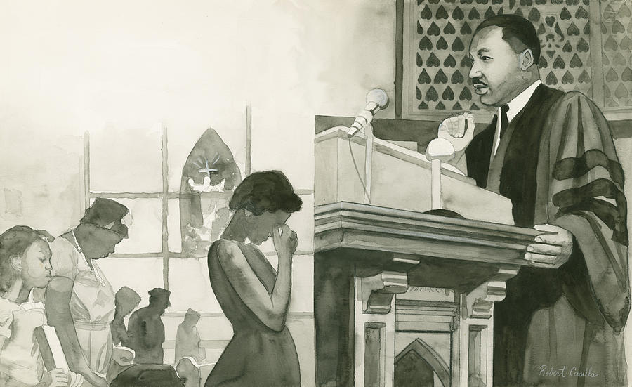 Martin Luther King On Pulpit Painting