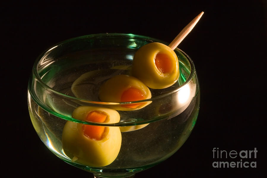 Martini Cocktail With Olives In A Green Glass Photograph
