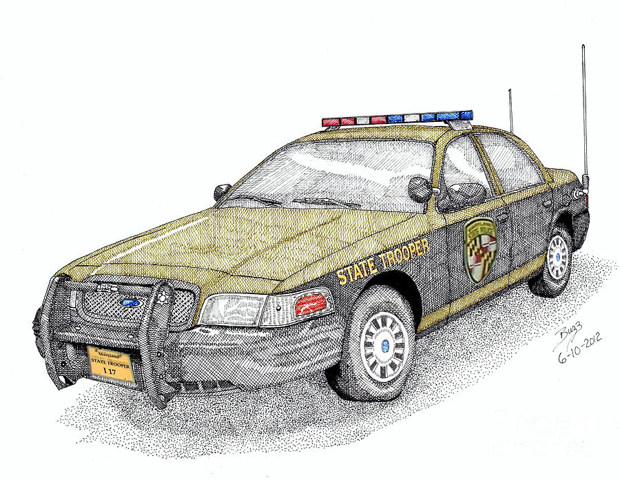 Maryland State Police Car Style 1 Drawing  - Maryland State Police Car Style 1 Fine Art Print