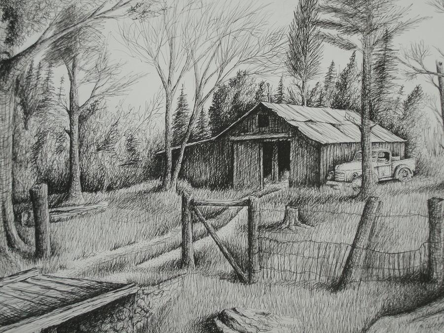 Mas Barn And Truck Drawing
