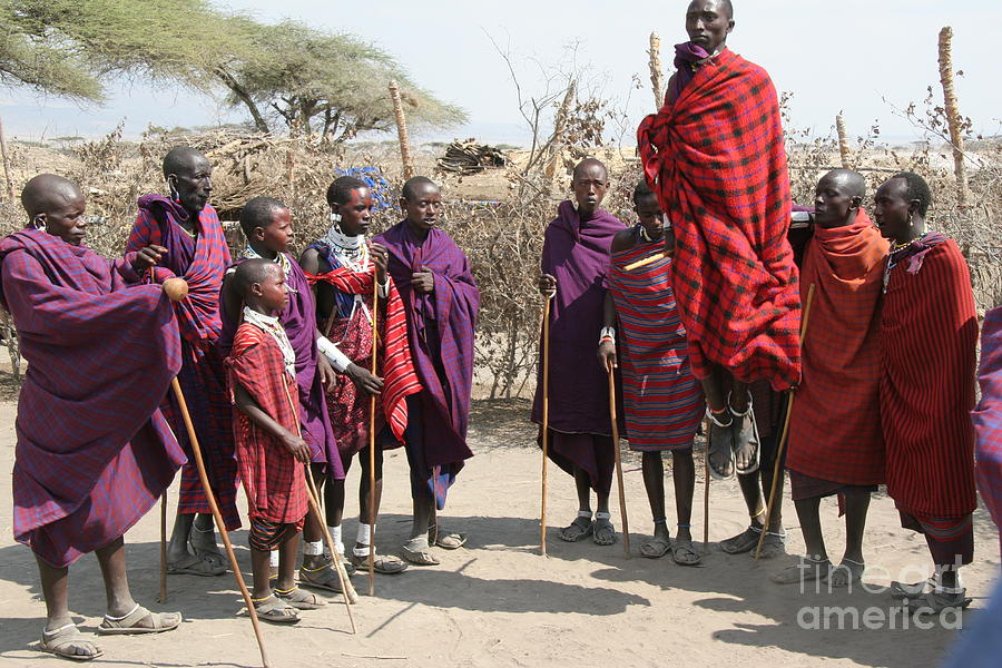 Masai Warriors Jumping Photograph