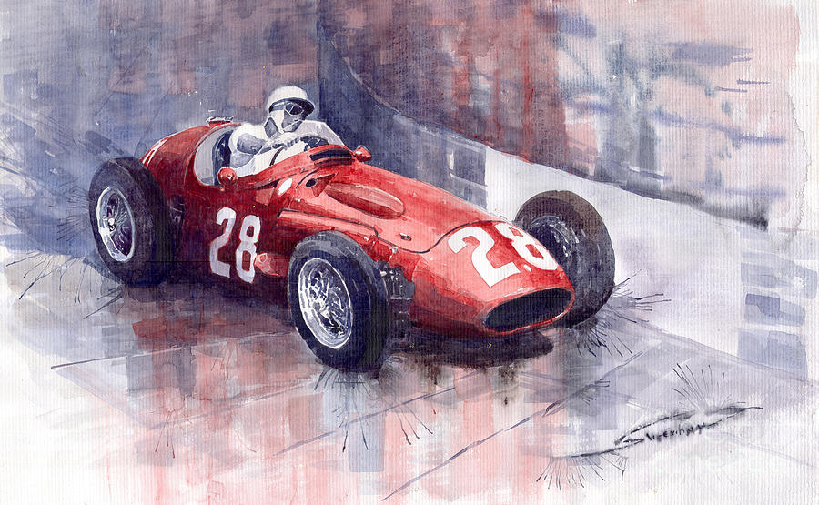 Maserati 250 F Gp Monaco 1956 Stirling Moss Painting  - Maserati 250 F Gp Monaco 1956 Stirling Moss Fine Art Print