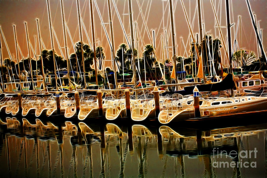 Marina Images Photograph - Masts by Cheryl Young