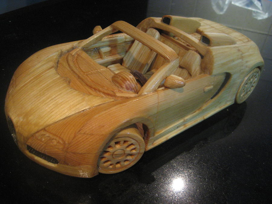 Matchstick Bugatti Sculpture