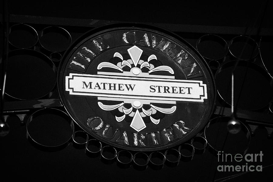 Mathew Street Sign In The Cavern Quarter In Liverpool City Centre Birthplace Of The Beatles Photograph  - Mathew Street Sign In The Cavern Quarter In Liverpool City Centre Birthplace Of The Beatles Fine Art Print