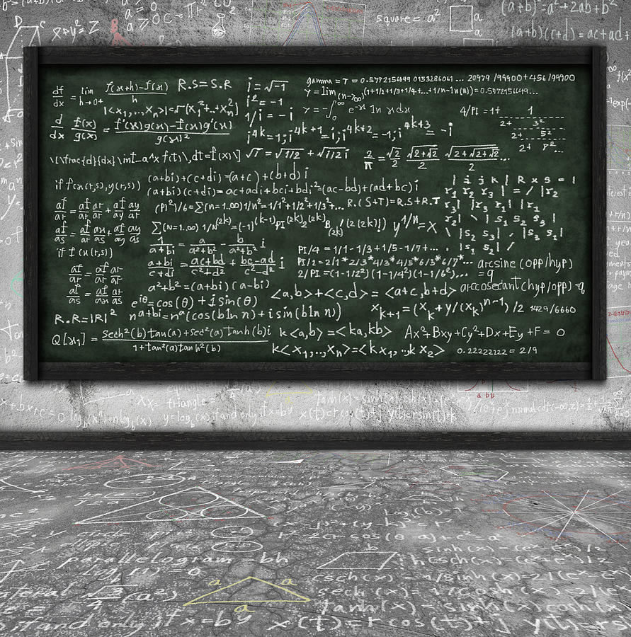 Maths Formula On Chalkboard Photograph  - Maths Formula On Chalkboard Fine Art Print