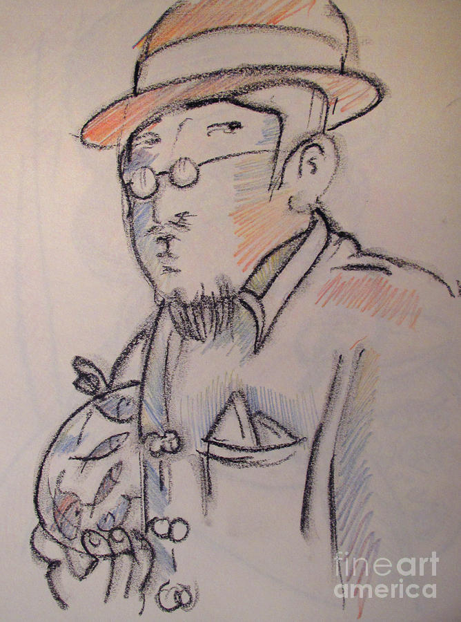 Matisse En Route To His Studio With Goldfish Drawing  - Matisse En Route To His Studio With Goldfish Fine Art Print
