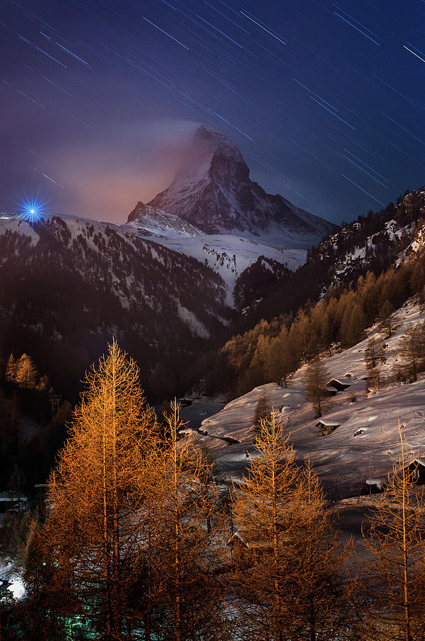 Matterhorn With Star Trail Photograph