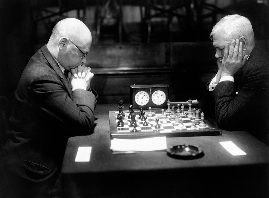 Mature Men Playing Chess, Profile (b&w) Photograph