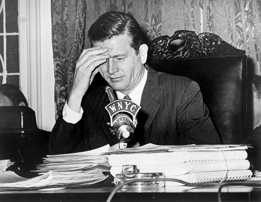 Mayor John Lindsay, Speaking Into Wnyc Photograph