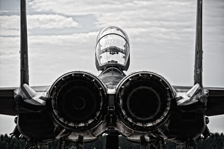 Mcdonnel Douglas F-15 Back View Photograph  - Mcdonnel Douglas F-15 Back View Fine Art Print