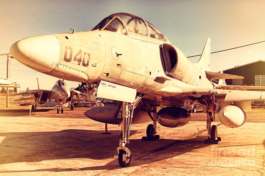 Retro Photograph - Mcdonnell Douglas Ta-4j Skyhawk Aircraft Fighter Plane . 7d11198 by Wingsdomain Art and Photography