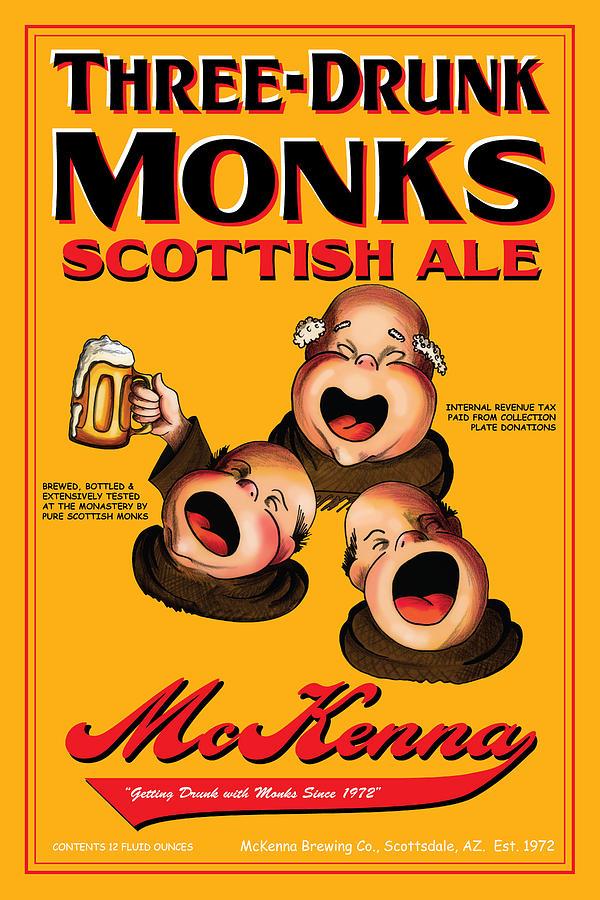 Monks Drawing - Mckenna Three Drunk Monks by John OBrien