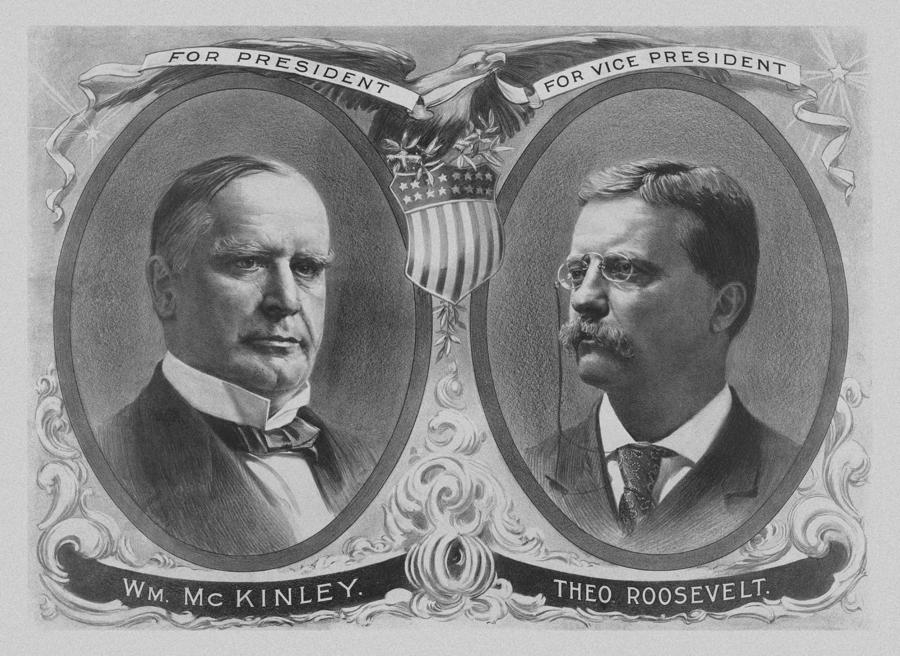 Mckinley And Roosevelt Election Poster Drawing  - Mckinley And Roosevelt Election Poster Fine Art Print