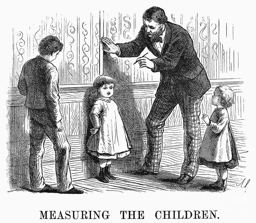 Measuring Children, 1876 Photograph