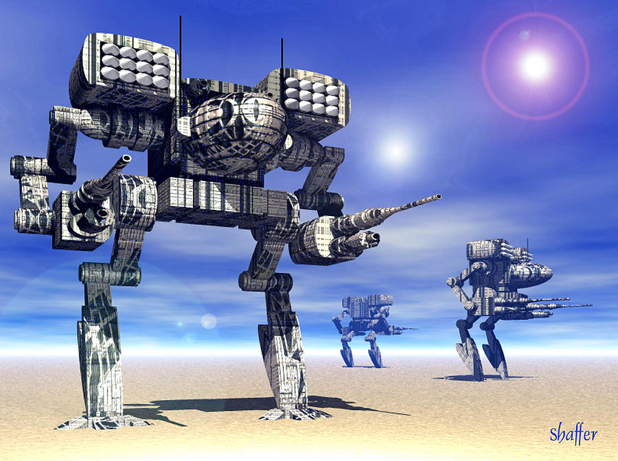 Mech Trinary Digital Art  - Mech Trinary Fine Art Print