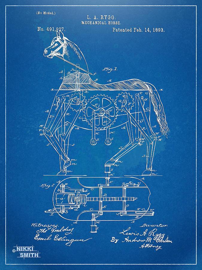 Mechanical Horse Toy Patent Artwork 1893 Digital Art
