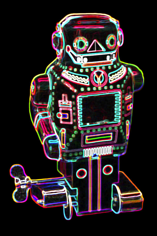 Mechanical Mighty Sparking Robot Digital Art