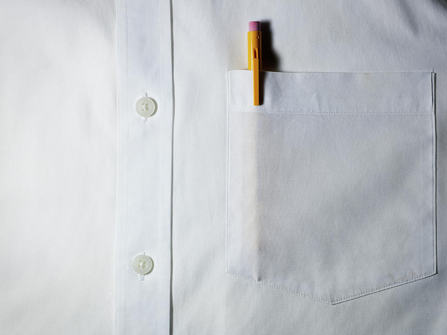 Mechanical Pencil In White Shirt Pocket. Photograph