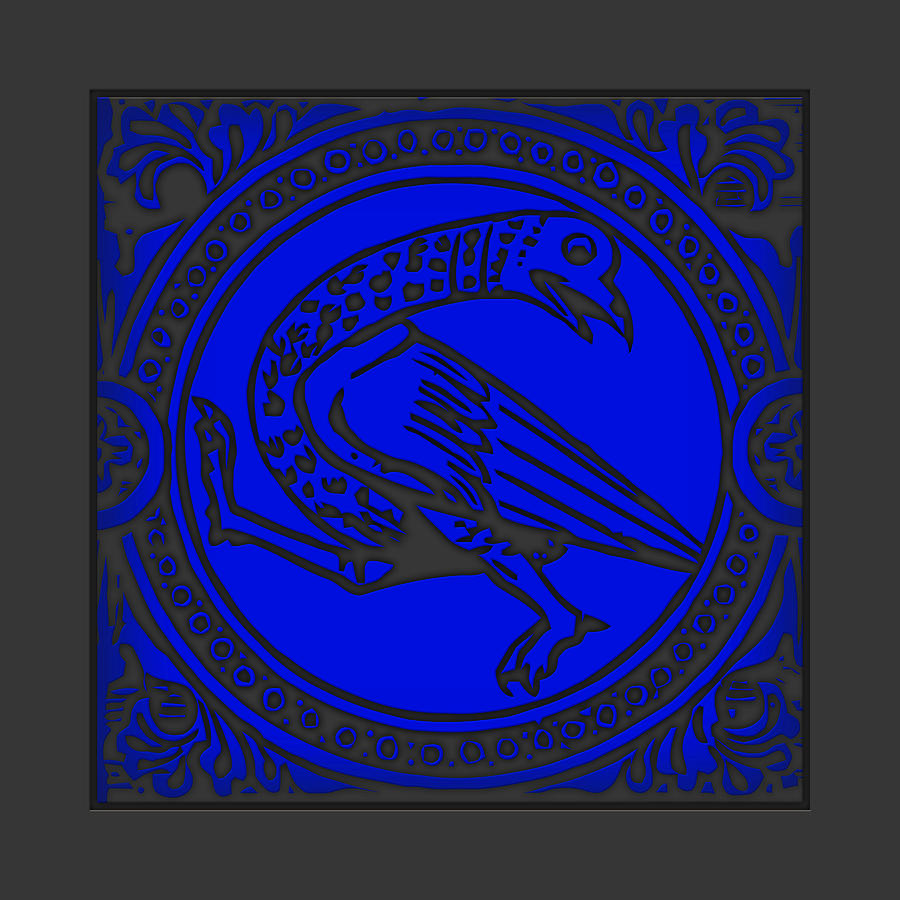 Mediaeval Bird Revision - Blue Digital Art