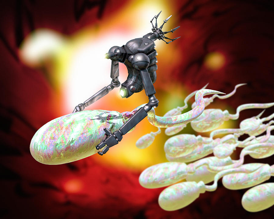 Medical Nanorobot On Sperm Cell Photograph  - Medical Nanorobot On Sperm Cell Fine Art Print