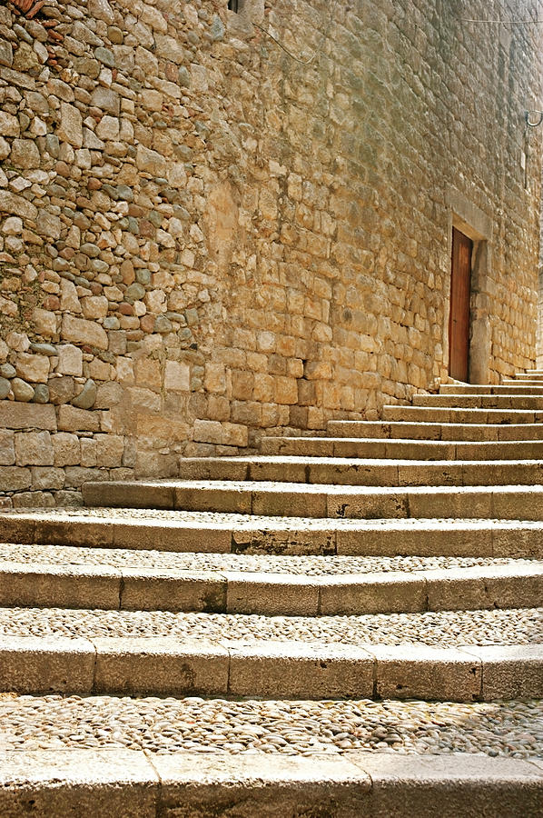 Medieval Stone Steps With One Doorway At The Top. Photograph  - Medieval Stone Steps With One Doorway At The Top. Fine Art Print