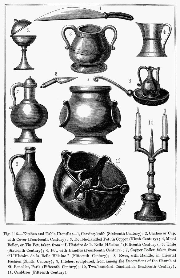 14th Century Photograph - Medieval Utensils by Granger