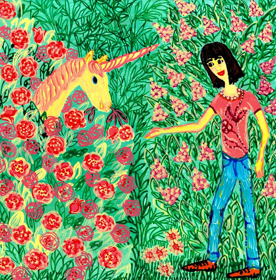 Meeting In The Rose Garden Painting  - Meeting In The Rose Garden Fine Art Print