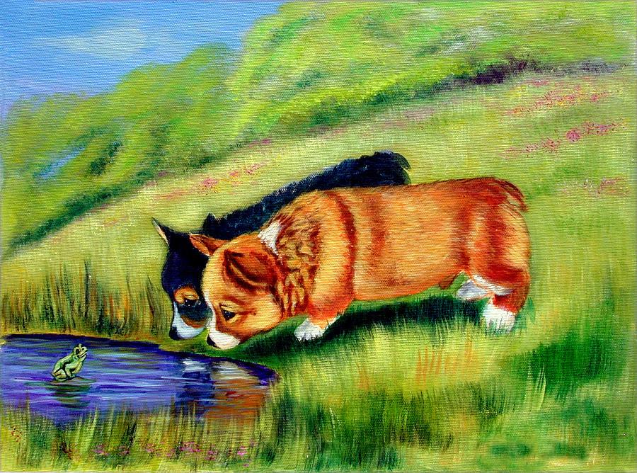 Meeting Mr. Frog Corgi Pups Painting
