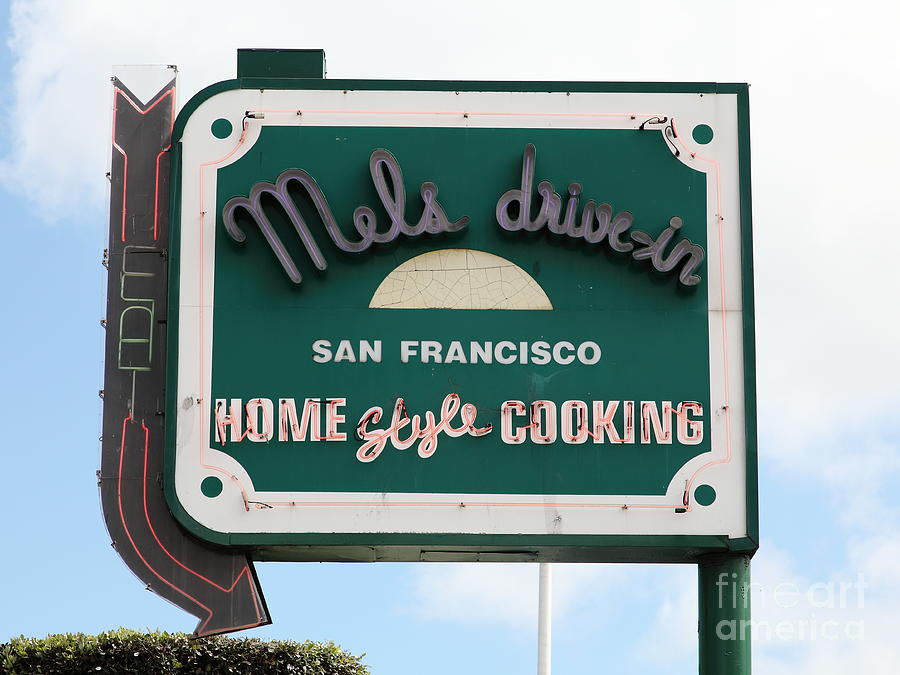 Mels Drive-in Diner Sign In San Francisco - 5d18046 Photograph
