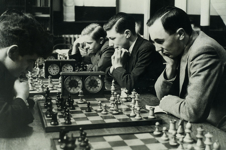 Men Concentrate On Chess Matches, 1940s Photograph