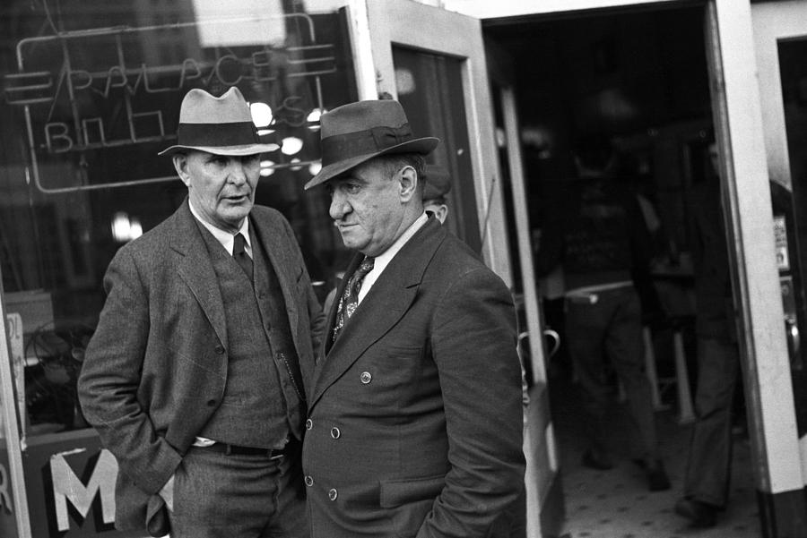 Men In Front Of A Pool Hall, Omaha Photograph  - Men In Front Of A Pool Hall, Omaha Fine Art Print