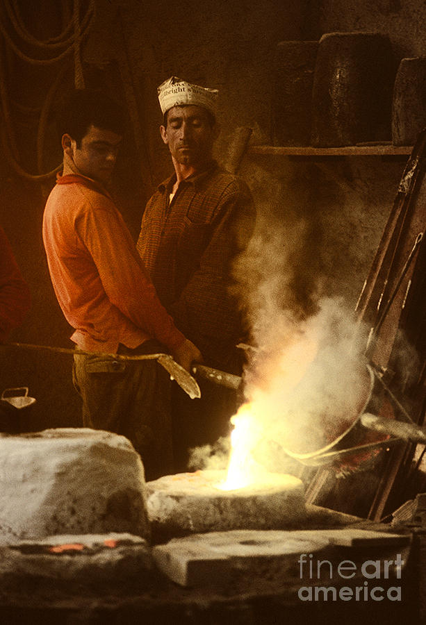 Men Pouring Bronze Photograph
